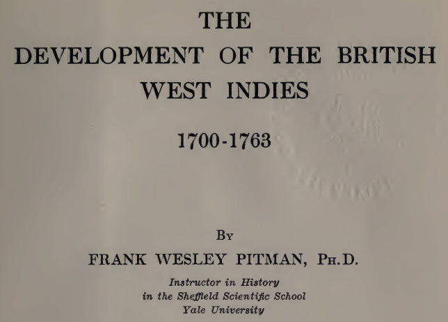 The Development of the British West Indies
